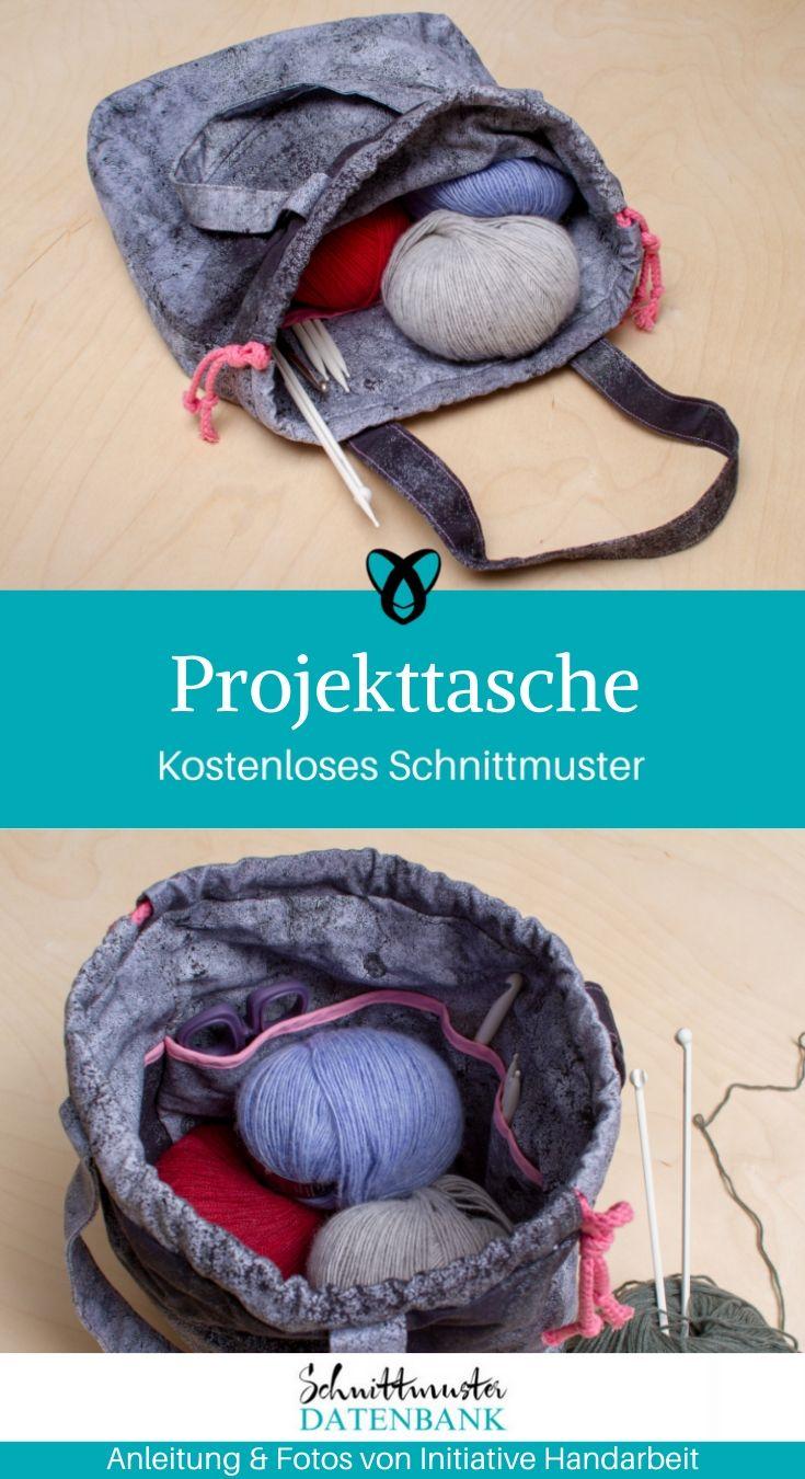 Projekttasche Häkeltasche Stricktasche Nähen Stricken Häkeln Aufbewahrung kostenlose Schnittmuster Gratis-Nähanleitung