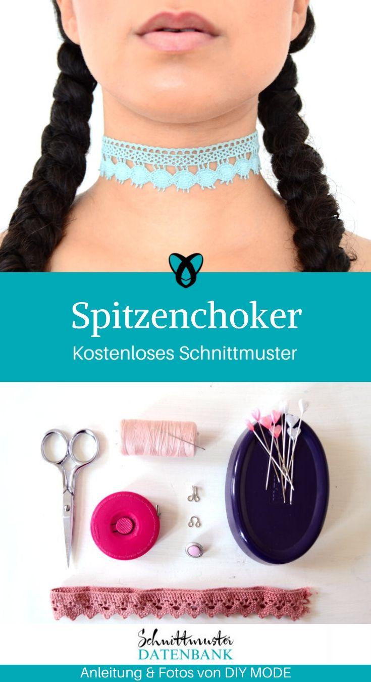 Spitzenchocker Choker Halsband accessoire kostenlose Schnittmuster Gratis-Nähanleitung