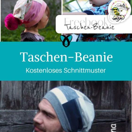 Taschen-Beanie Mütze mit Tasche Kopfbedeckung Beanie für Männer Frauen Kinder Kostenlose Schnittmuster Gratis-Nähanleitung