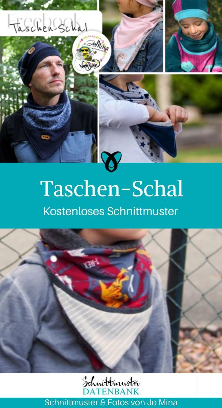 Taschen Schal Schal mit Tasche Halstuch für Männer Frauen Kinder kostenlose Schnittmuster Gratis-Nähanleitung