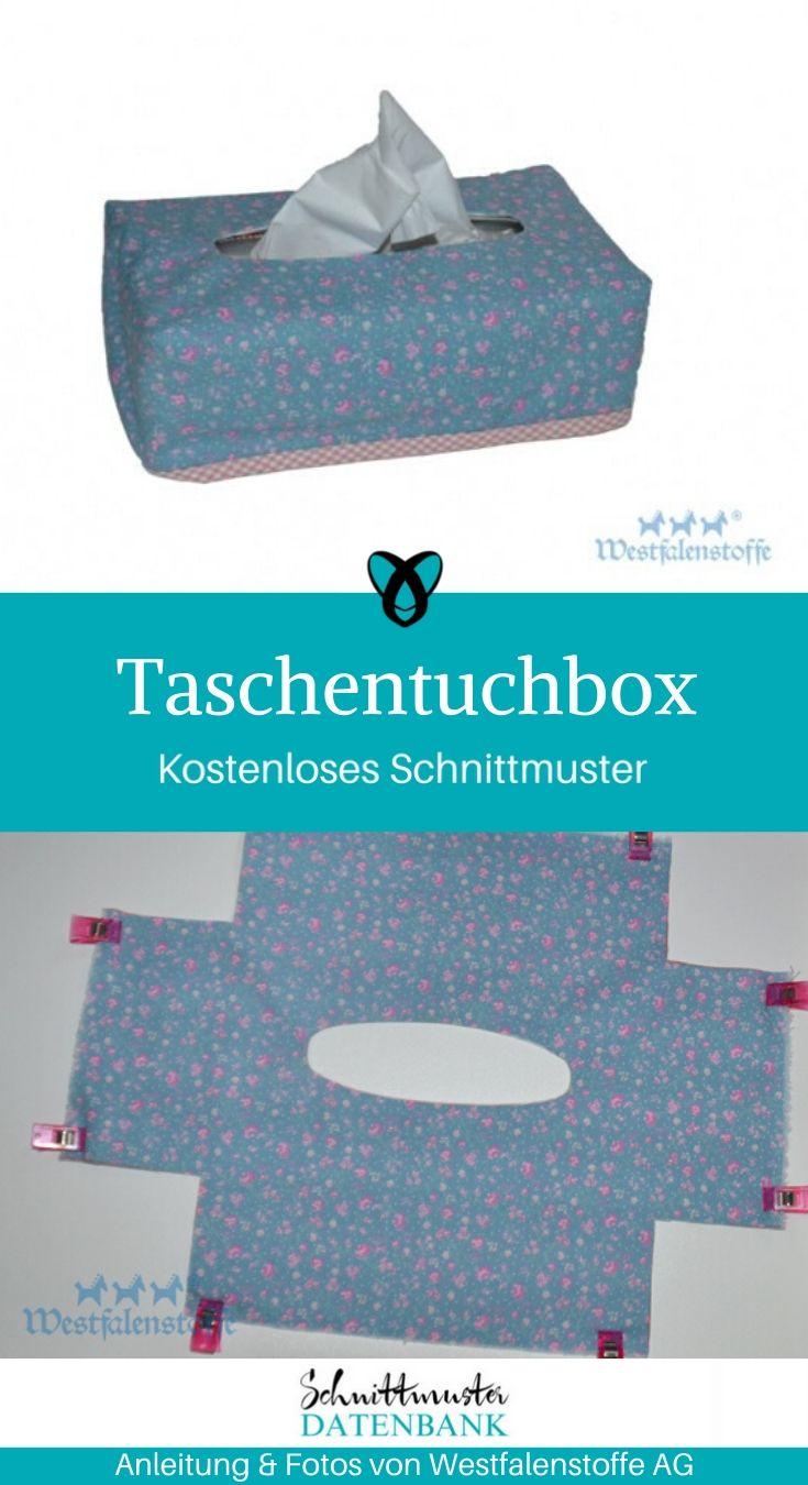 Taschentuchbox Nähen für Zuhause kostenlose Schnittmuster Gratis-Nähanleitung