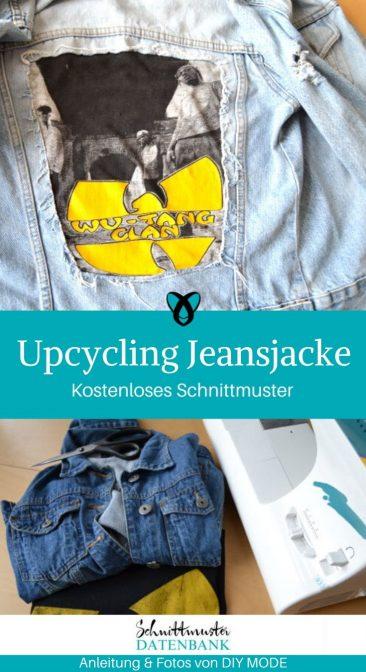 Upcycling Jeansjacke aus alt mach neu Bandshirt Nachhaltigkeit kostenlose Schnittmuster Gratis-Nähanleitung