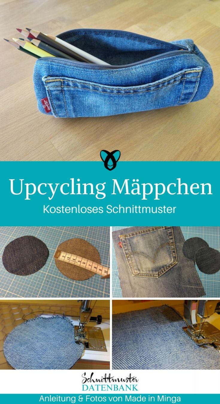 Upcycling Schlampermäppchen Stifteetui kleines Täschchen aus alter Jeans kostenlose Schnittmuster Gratis-Nähanleitung