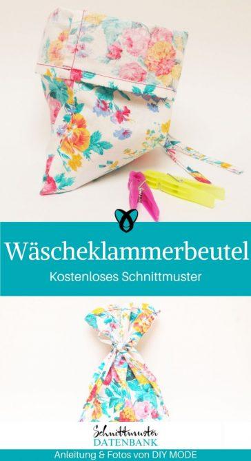 Wäscheklammerbeutel kleiner beutel kleines Säckchen nähen für zuhause kostenlose Schnittmuster Gratis-Nähanleitung