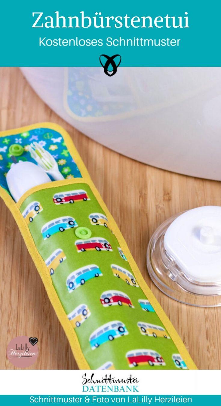 Zahnbürstenetui Reisetui elektrische Zahnbürste Nähen für die Reise hygiene Etui Tasche für Zahnbürste kostenlose Schnittmuster Gratis-Nähanleitung
