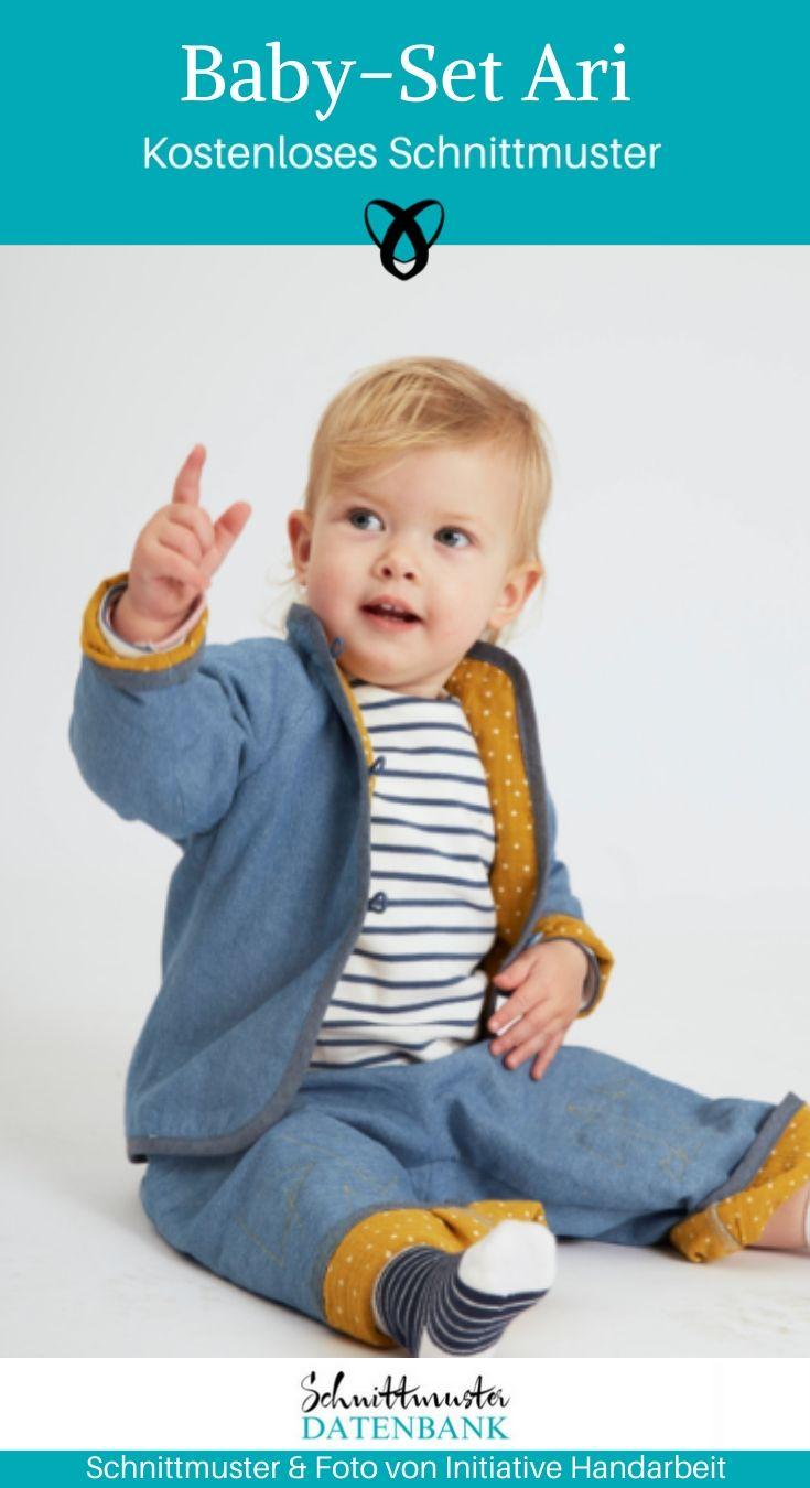 Babyset Ari Babyjacke Babyhose Nähen für Baby Kleinkind kostenlose Schnittmuster Gratis-Nähanleitung