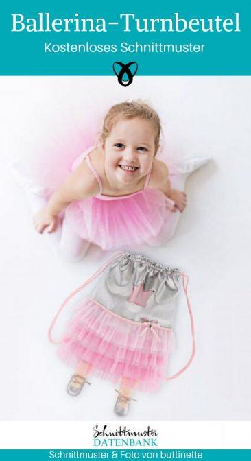 Ballerina-Turnbeutel Tasche Ballett für Mädchen nähen für Jungs nähen Tutu kostenlose Schnittmuster Gratis-Nähanleitung