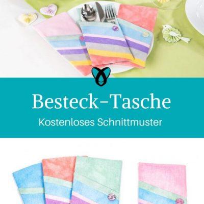 Bestecktasche Bestecketui gedeckter Tisch Ostern Osterfrühstück kostenlose Schnittmuster Gratis-Nähanleitung