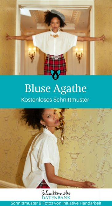 Bluse Agathe Damenbluse Kurzarmbluse kostenlose Schnittmuster Gratis-Nähanleitung