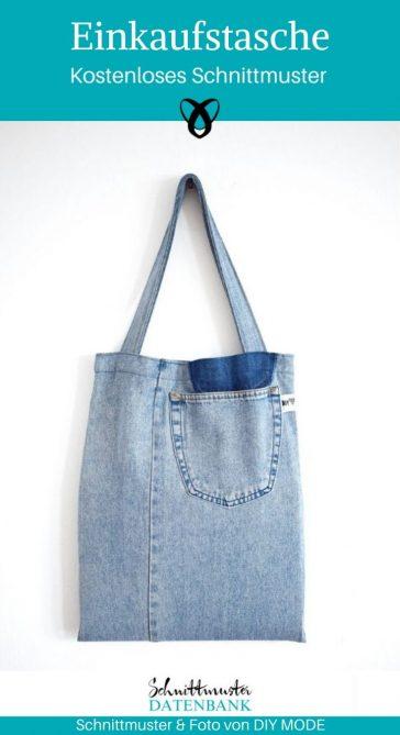 Einkaufstasche Upcycling Jeans Jeanstasche kostenlose Schnittmuster Gratis-Nähanleitung