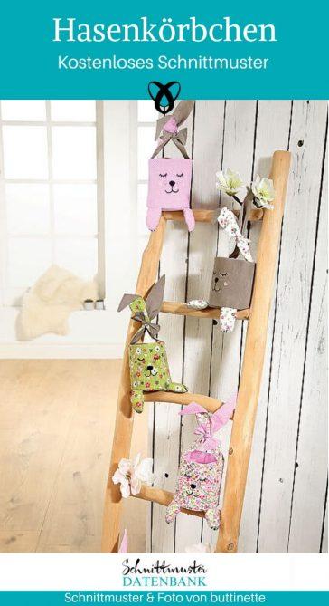 Hasenkörbchen ostern Geschenke zu Ostern Ostereier verstecken kostenlose Schnittmuster Gratis-Nähanleitung