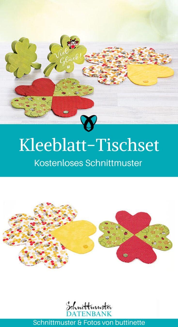 Kleeblatt-Tischset Tischunterlage gedecker Tisch Ostern kostenlose Schnittmuster Gratis-Nähanleitung