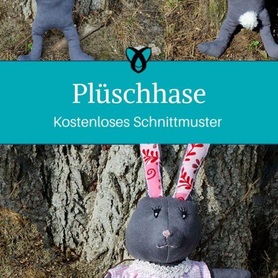 Plüschhase Stofftier Hase Kuscheltier Spielzeug Nähen für Kinder kostenlose Schnittmuster Gratis-Nähanleitung