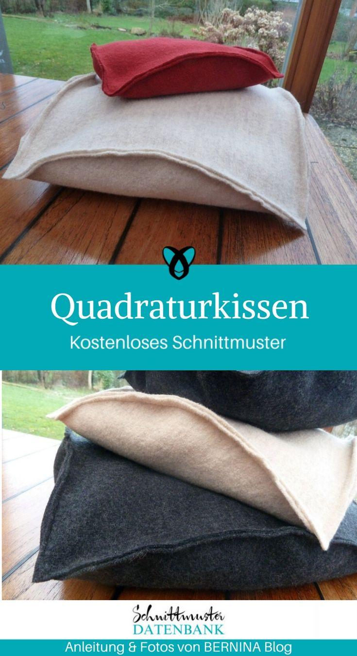 Quadraturkissen Dekokissen Quadratur des Kreises Filzkissen kostenlose Schnittmuster Nähen für Zuhause Gratis-Nähanleitung