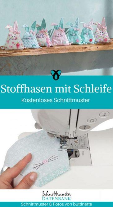 Stoffhasen Osterdeko kleine Hasen mit Schleife kostenlose Schnittmuster Gratis-Nähanleitung