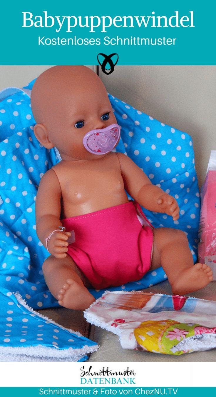 Babypuppenwindel Puppenwindel Windel Baby born kostenlose Schnittmuster Gratis-Nähanleitung