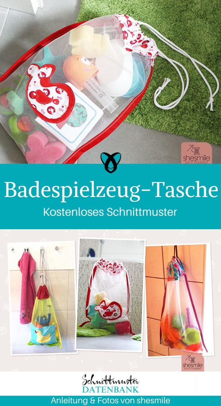 Badespielzeug-Tasche Nähen für Kinder Nähen mit Tüll kostenlose Schnittmuster Gratis-Nähanleitung