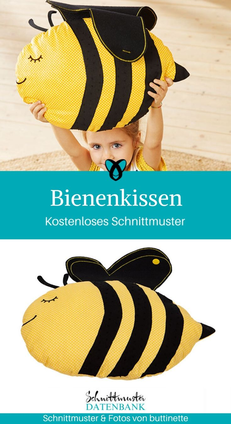 Bienenkissen Kissen Großes Kissen Sitzkissen kostenlose Schnittmuster Gratis-Nähanleitung