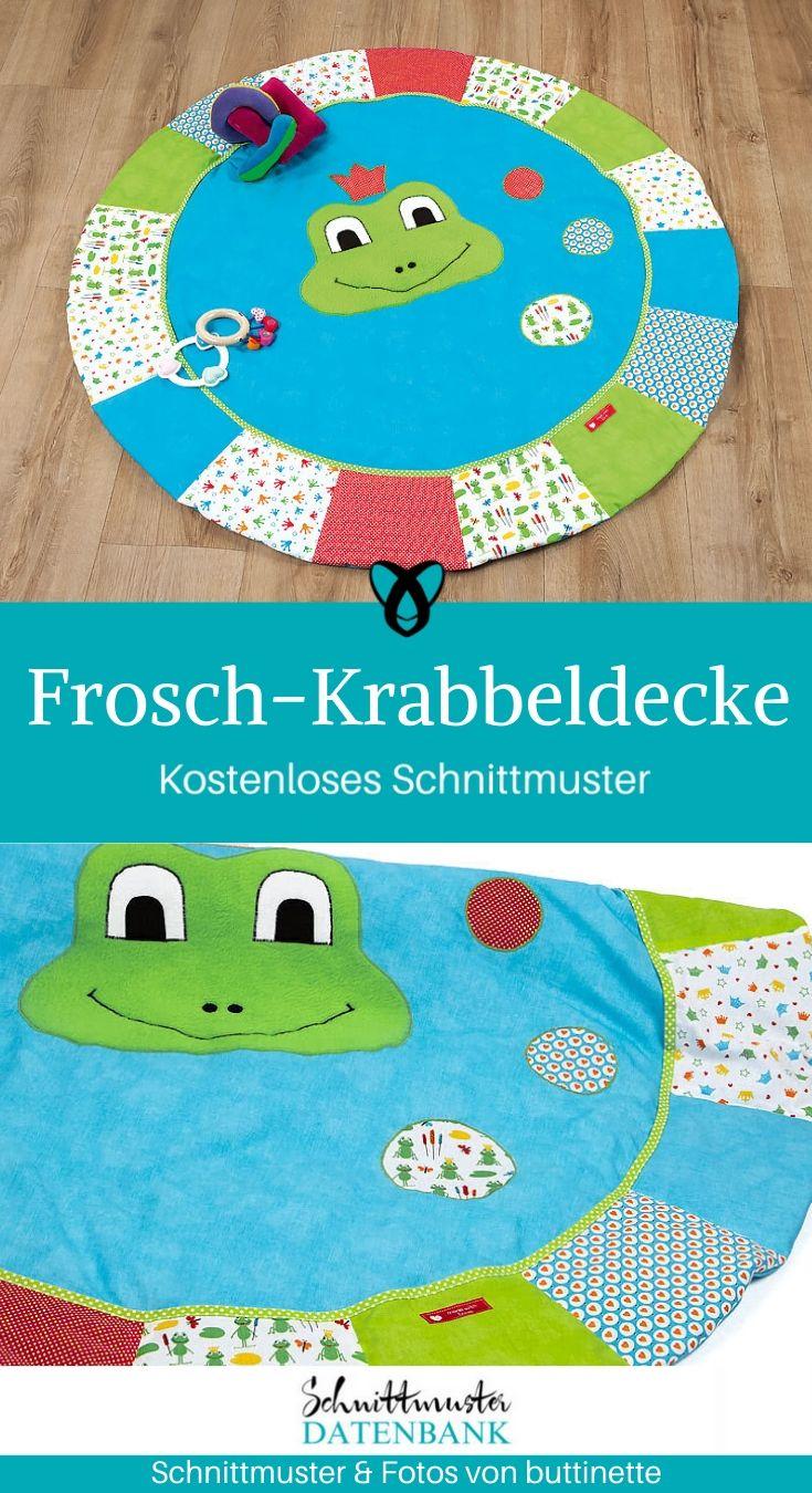 Frosch-Krabbeldecke Nähen für Babies Erstausstattung Nähen zur Geburt Spieldecke kostenlose Schnittmuster Gratis-Nähanleitung