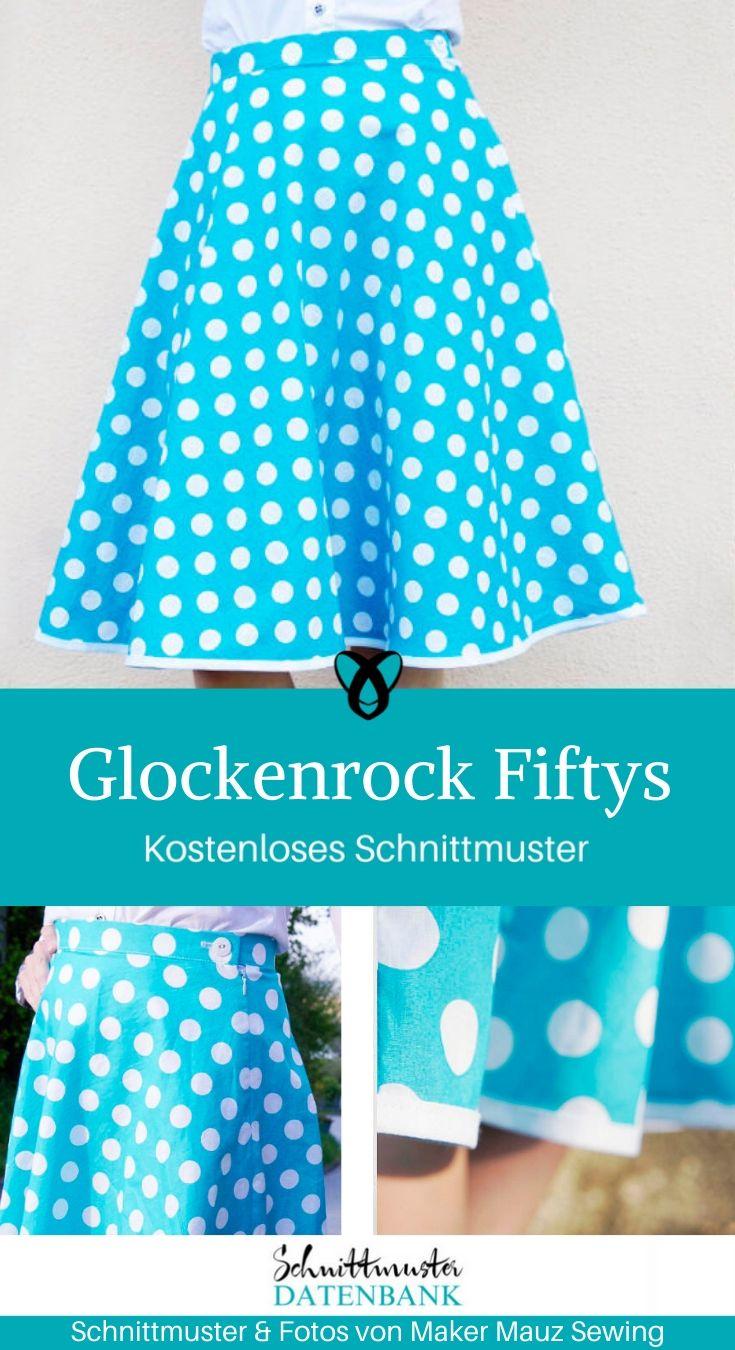 Glockenrock Fiftys Damenrock Damenkleidung kostenlose Schnittmuster Gratis-Nähanleitung