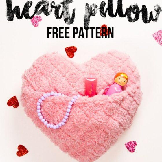 Herzkissen Plüschkissen Kissen in Herzform Kissen mit Fach Kissen mit Tasche Versteck Nähen für Zuhause kostenlose Schnittmuster Gratis-Nähanleitung