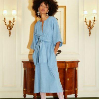 Kaftan Annike Damenkleid Kleid Sommerkleid Leinenkleid Weites Kleid elegantes Kleid kostenlose Schnittmuster Gratis-Nähanleitung