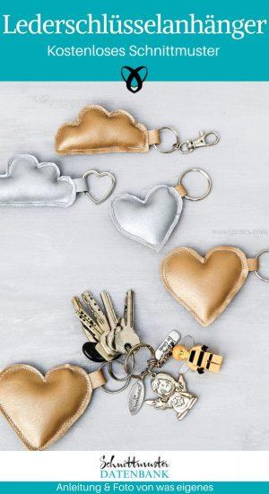 Lederschlüsselanhänger Schlüsselanhänger aus Leder Nähen mit Leder Praktisches Nähen kleine Geschenke kostenlose Schnittmuster Gratis-Nähanleitung