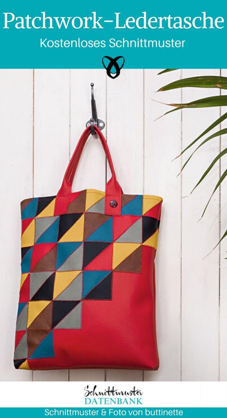 Patchwork-Ledertasche Shopper Einkaufstasche Handtasche Henkeltasche Tasche aus Leder Nähen mit Leder kostenlose Schnittmuster Gratis-Nähanleitung