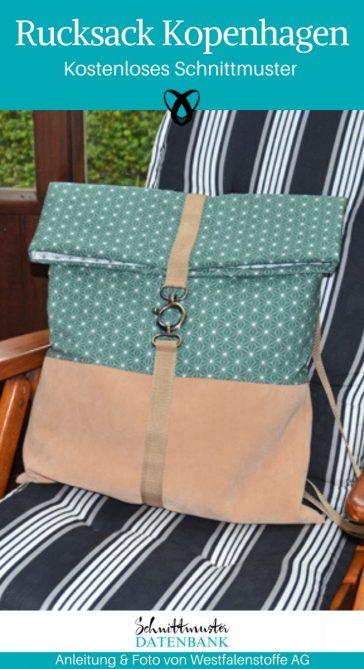 Rucksack Kopenhagen Backpack Tasche kostenlose Schnittmuster Gratis-Nähanleitung