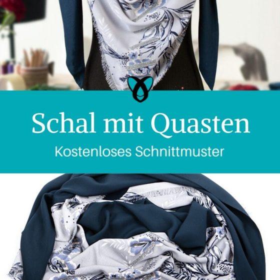 Schal Tuch Schal mit Quasten Dreieckstuch Bauwollschal kostenlose Schnittmuster Gratis-Nähanleitung