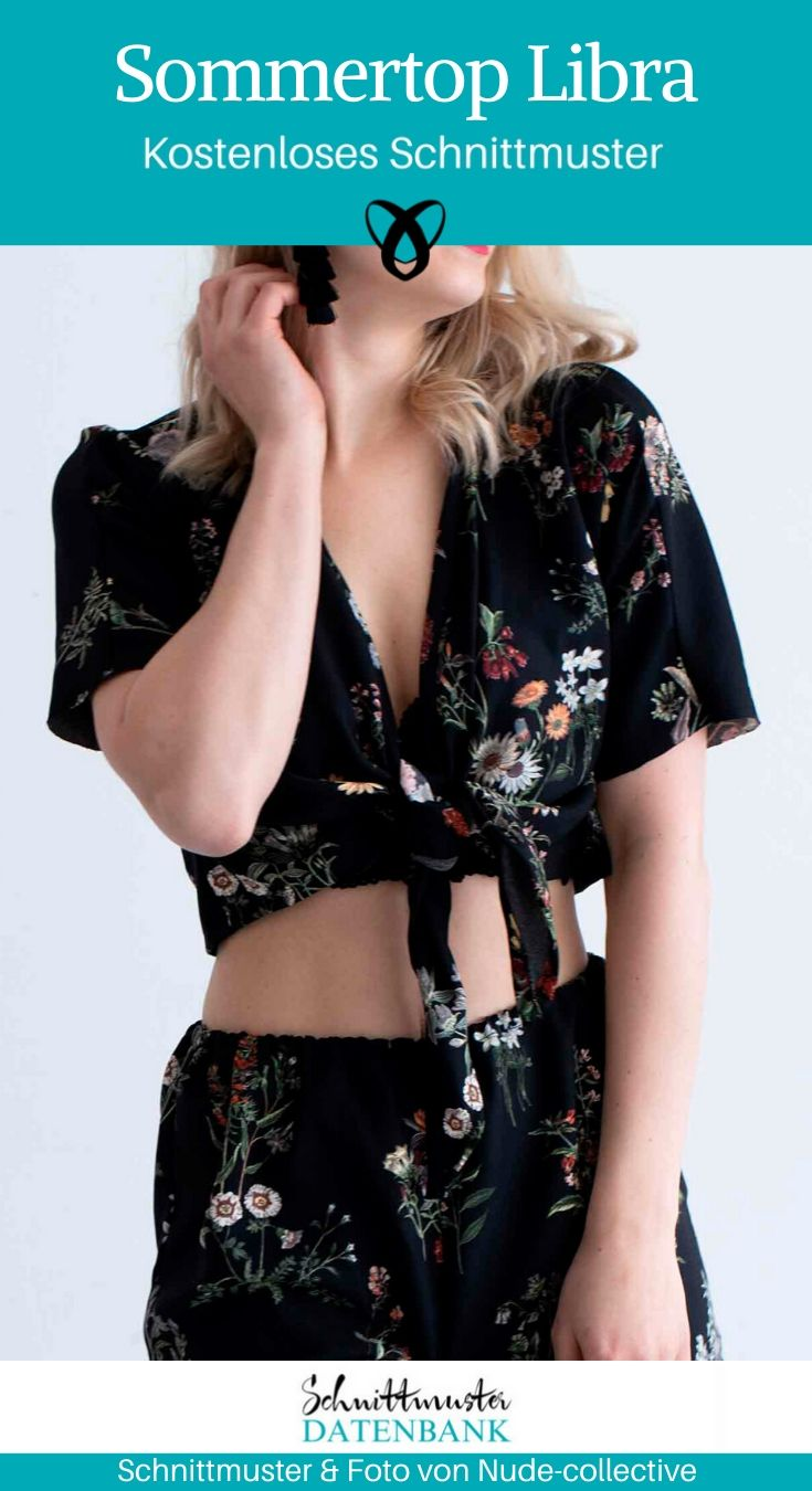 Sommertop Libra Sommerbluse Bluse zum Binden Kurzarmbluse Bauchfrei kostenlose Schnittmuster Gratis-Nähanleitung