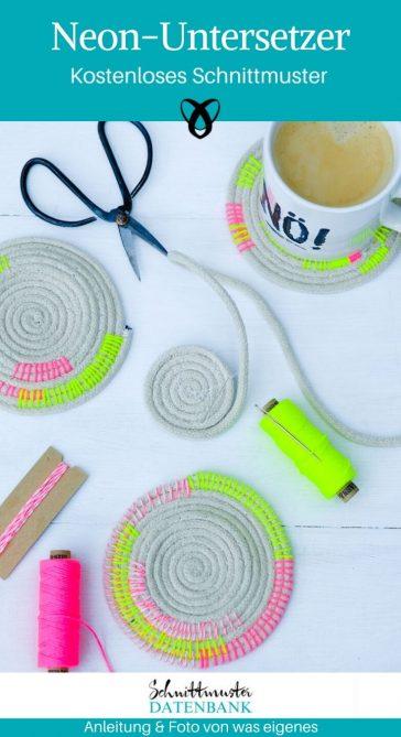 Untersetzer Tasse Nähen mit Seil Neonfaden Nähen für zuhause kostenlose Schnittmuster Gratis-Nähanleitung