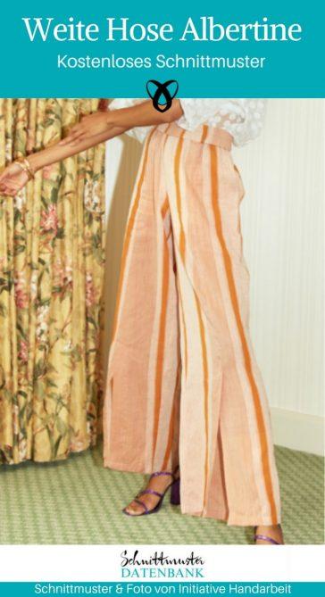 Weite Hose Albertine Leinenhose Sommerhose Nähen für Frauen Damenbekleidung kostenlose Schnittmuster Gratis-Nähanleitung