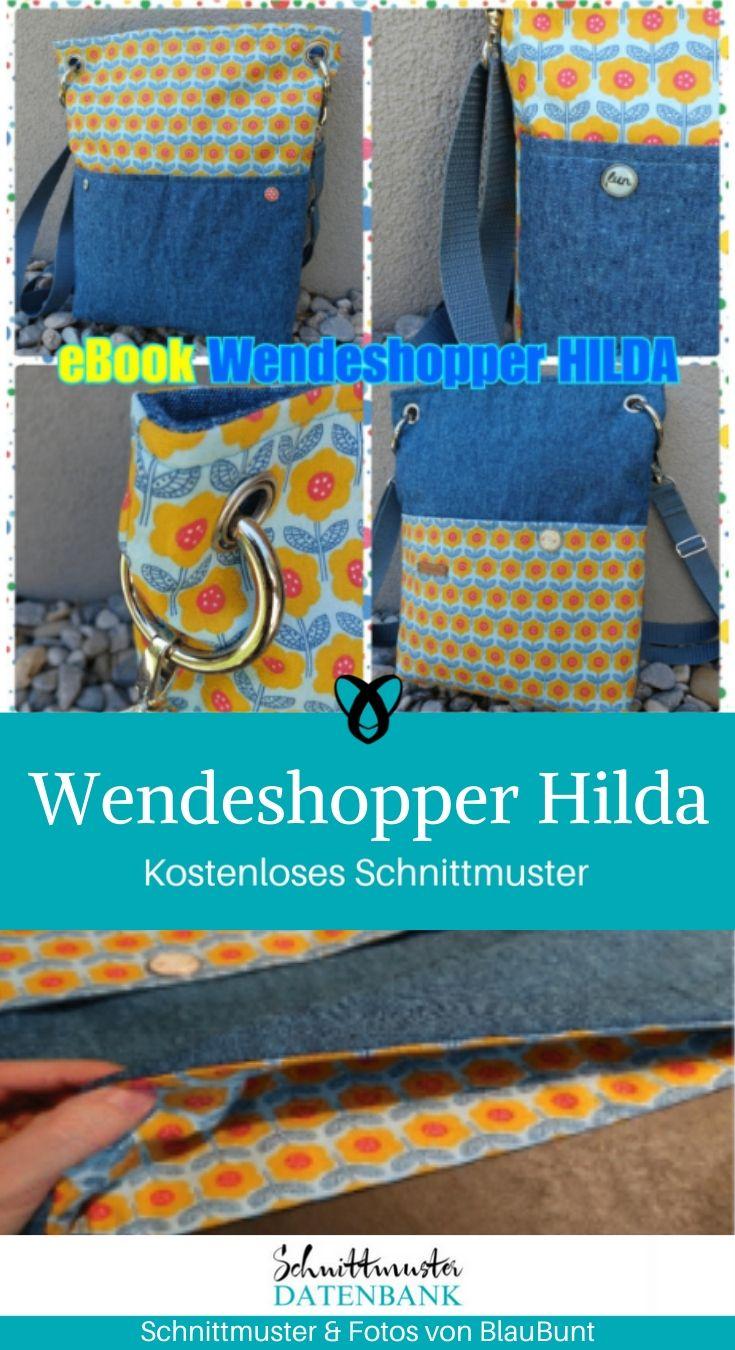 Wendeshopper Hilda Einkaufstausche Shopper Henkeltasche kostenlose Schnittmuster Gratis-Nähanleitung