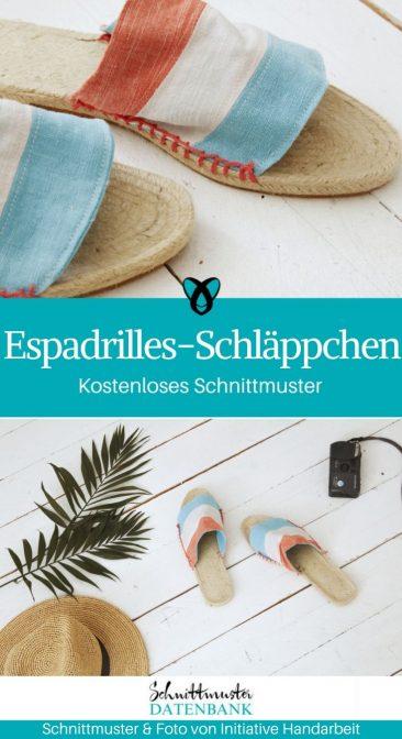 Espradilles Schläppchen Sandalen Sommerschuhe kostenlose Schnittmuster Gratis-Nähanleitung