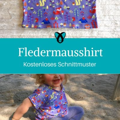 Fledermausshirt Shirt mit Fledermausärmeln Kindershirt Jerseyshirt einfaches T-Shirt kostenlose Schnittmuster Gratis-Nähanleitung