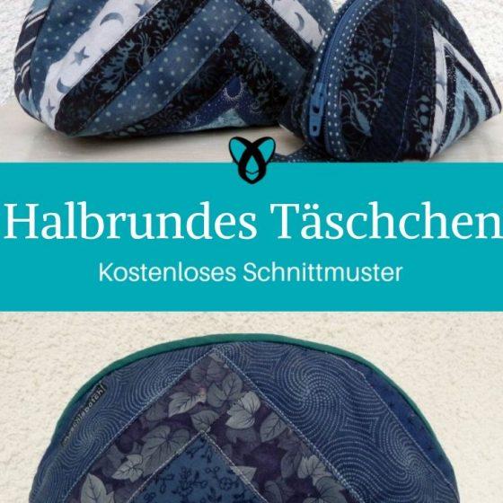 Halbrundes Täschchen Kosmetiktäschchen Etui Kulturtasche kostenlose Schnittmsuter Gratis-Nähanleitung
