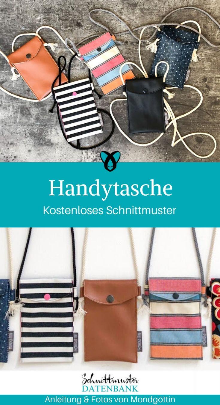 Handytasche Nähanfänger Smartphone Tasche kostenlose Schnittmuster Gratis Nähanleitung kleine Tasche
