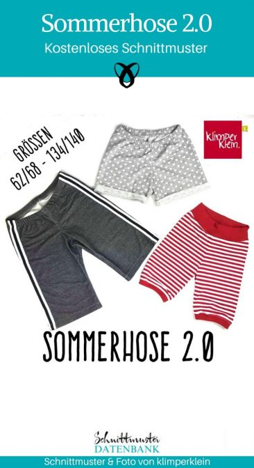 Sommerhose kurze Hose Kinderhose Shorts Nähen für kinder kostenlose Schnittmuster Gratis-Nähanleitung