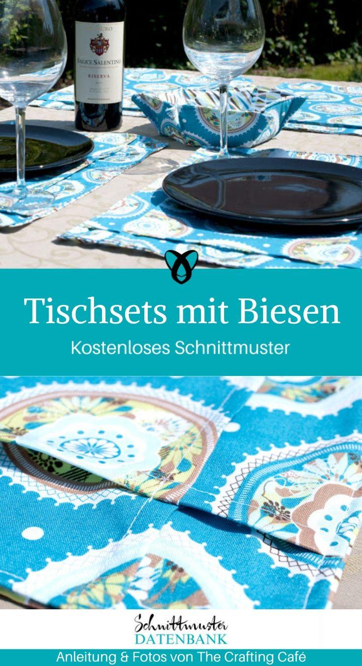 Tischsets mit Biesen Tischdecke Set kostenlose Schnittmuster Gratis-Nähanleitung