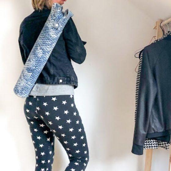 Yogatasche Upcycling Jeans Sporttasche Yoga Yogamatte kostenlose Schnittmuster Gratis-Nähanleitung