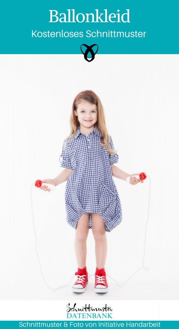 Ballonkleid weites Mädchenkleid Sommerkleid Nähen für Kinder kostenlose Schnittmuster Gratis-Nähanleitung