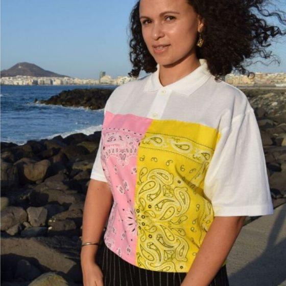 Bandana Shirt Upcycling Poloshirt kostenlose Schnittmuster Gratis-Nähanleitung