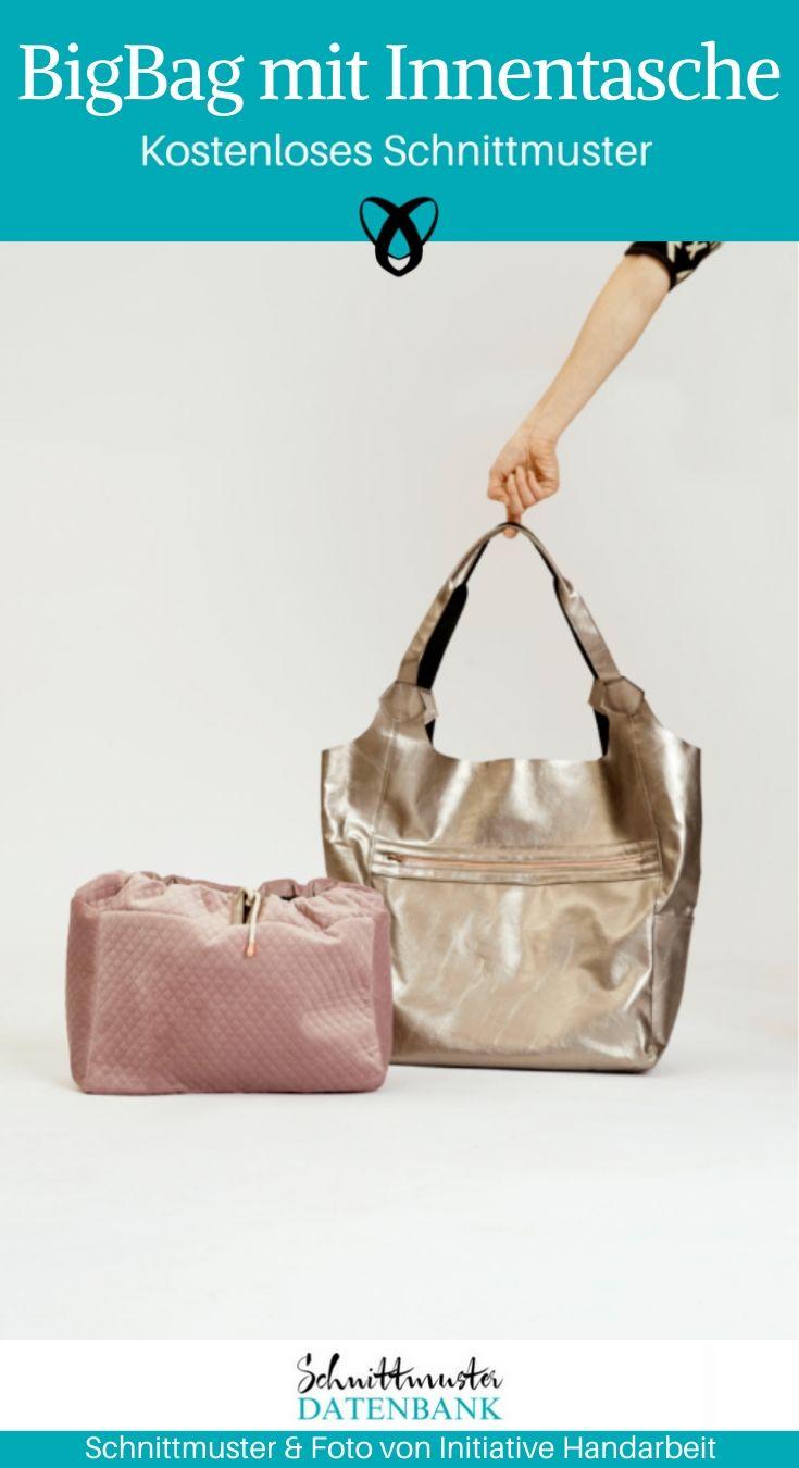 Big bag mit Innentasche Handtasche Shopper kostenlose Schnittmuster Gratis-Nähanleitung