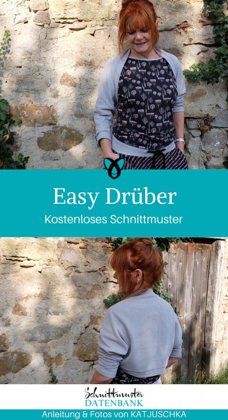 Easy Drüber Cardigan Bolerojacke Strickjacke kostenlose Schnittmuster gratis-Nähanleitung