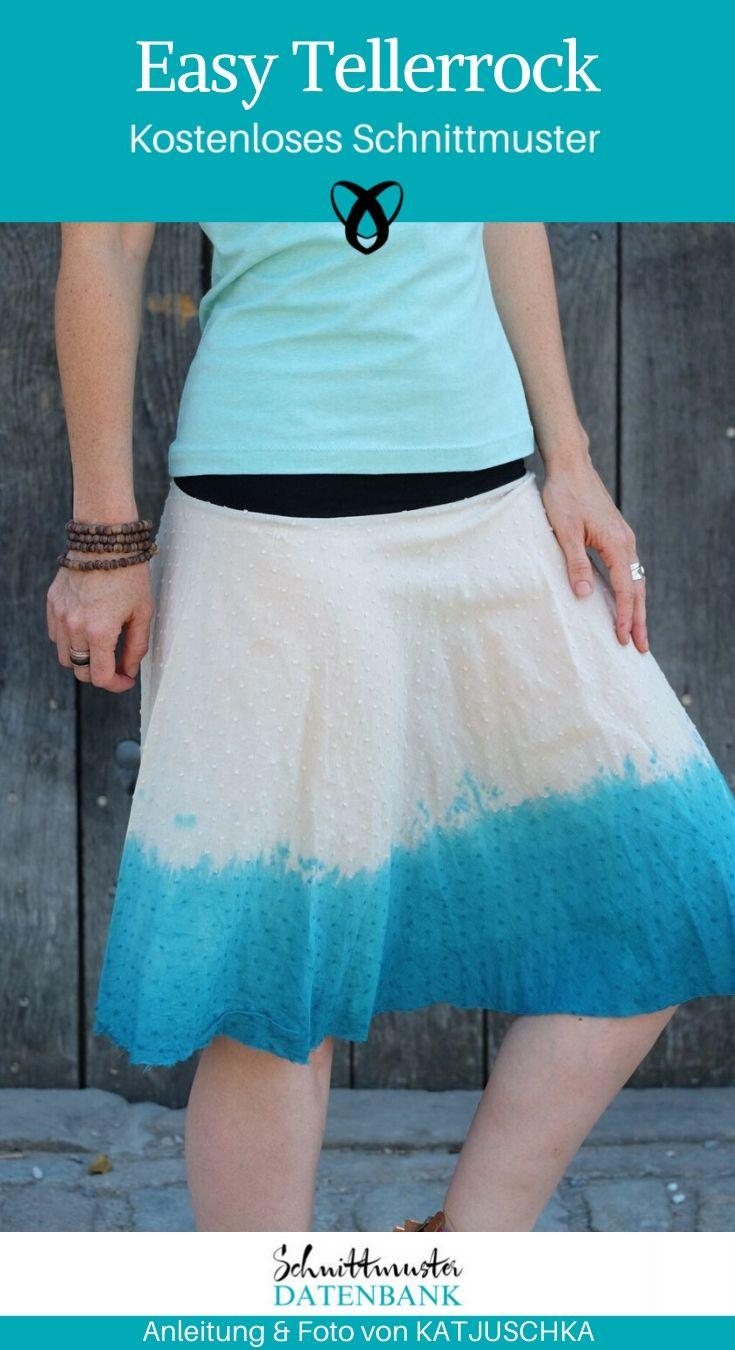 Easy Tellerrrock Rock ausgestellter Rock Sommerkleidung Damenkleidung kostenlose Schnittmuster Gratis-Nähanleitung