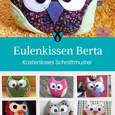 Eulenkissen Berta Kinderkissen Motivkissen Spielzeug kostenlose Schnittmuster Gratis-Nähanleitung