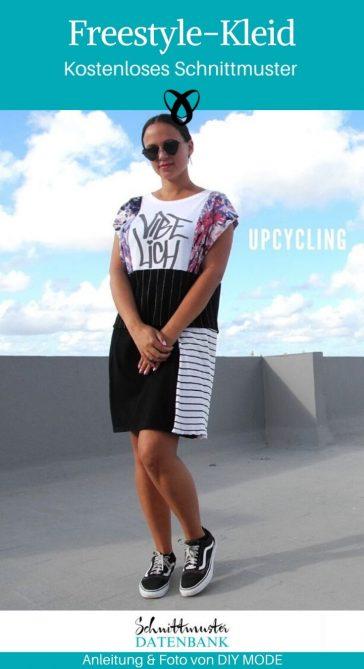 Freestyle Kleid Upcyling Nähen mit Stoffresten kostenlose Schnittmuster Gratis-Nähanleitung