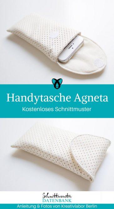 Handytasche Agneta Handytasche aus Leder Smartphonetasche kostenlose Schnittmuster Gratis-Nähanleitung