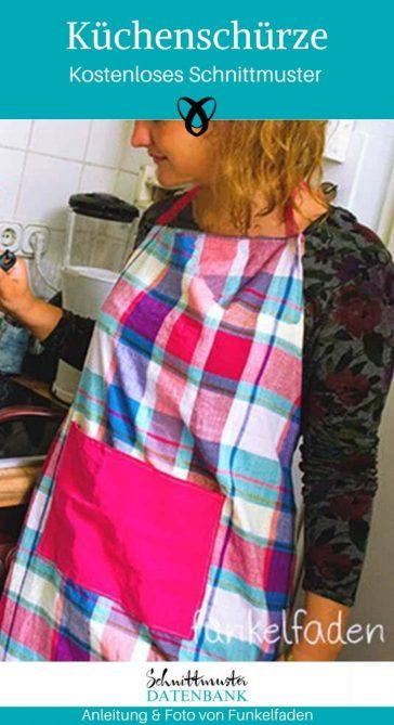 Küchenschürze Schürze Nähen für Zuhause praktisches Nähen Nähen mit webware kostenlose Schnittmuster Gratis-Nähanleitung
